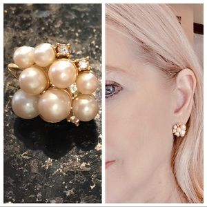 Faux pearl cluster post earrings with CZ accents